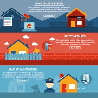 Conjunto de banners planos interactivos de seguridad en el hogar