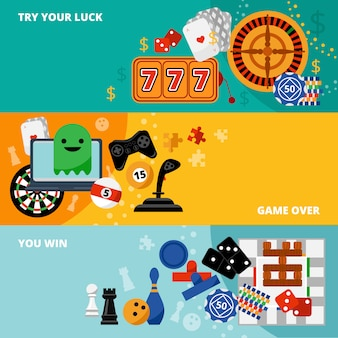 Conjunto de banners planos de juegos de juegos