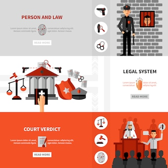 Conjunto de banners planos de leyes legales