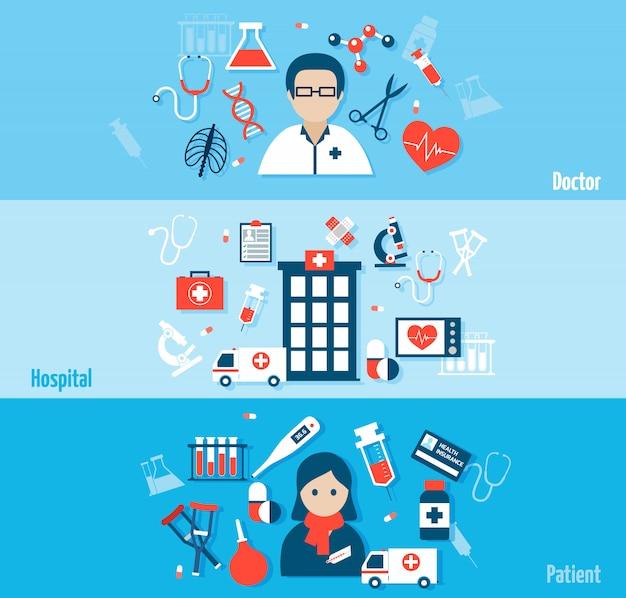 Conjunto de banners planos médicos con composición de elementos y avatar.