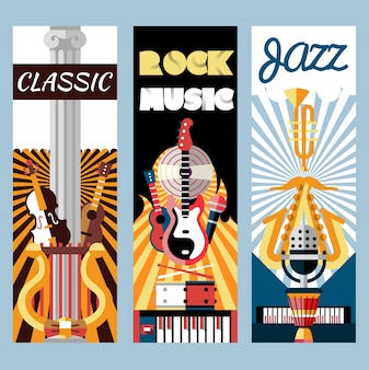 Conjunto de banners planos de música