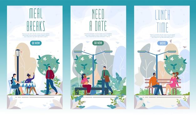 Conjunto de banners planos del parque recreativo de la ciudad
