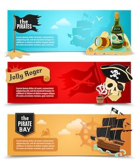 Conjunto de banners planos de piratas
