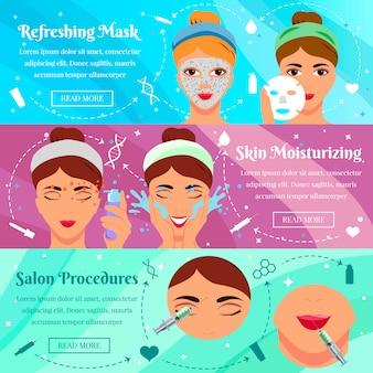 Conjunto de banners planos para procedimientos de belleza.