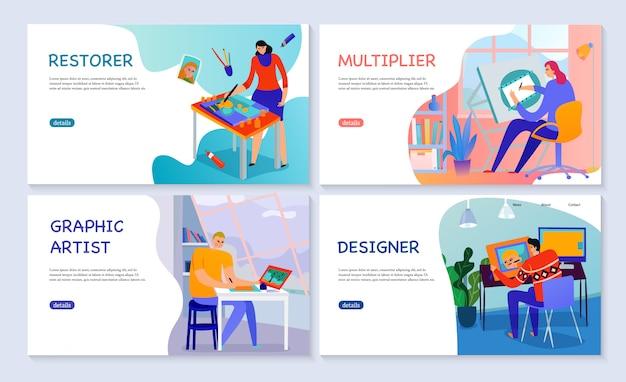 Conjunto de banners planos profesiones creativas artista gráfico restaurador multiplicador y diseñador aislado
