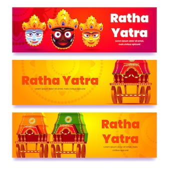 Conjunto de banners planos rath yatra