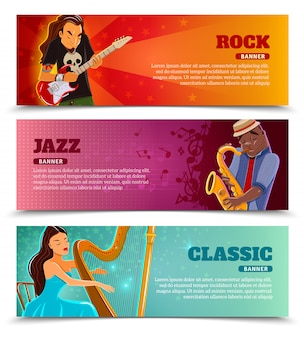 Conjunto de banners planos de rendimiento musical