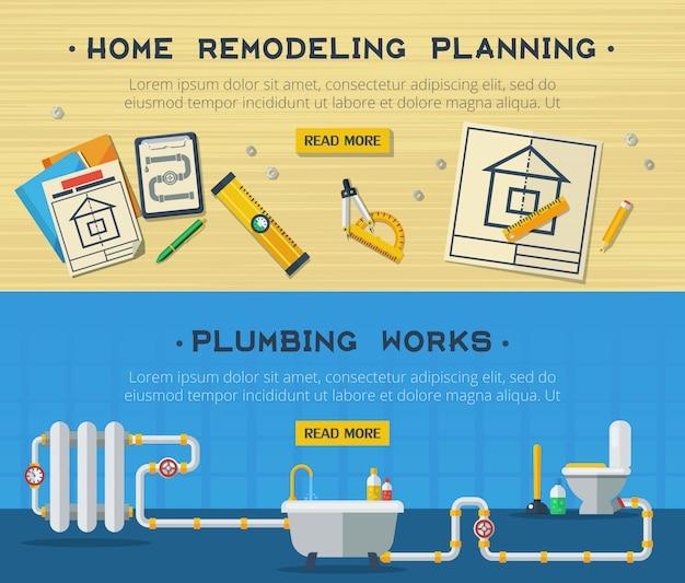 Conjunto de banners planos de reparación para el hogar 2
