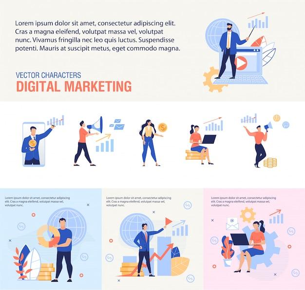 Conjunto de banners planos de servicio de marketing digital