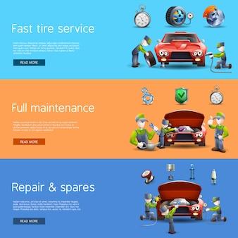 Conjunto de banners planos de servicio mecánico automático