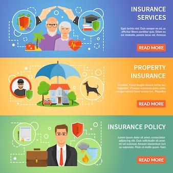 Conjunto de banners planos servicio de seguros 3