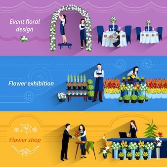 Conjunto de banners planos de servicio de tienda de florista