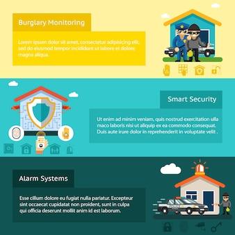 Conjunto de banners planos de sistema de seguridad para el hogar. ladrón y ladrón, seguridad en el hogar,