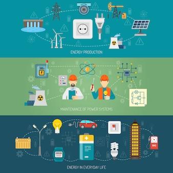 Conjunto de banners planos de sistemas de energía de energía