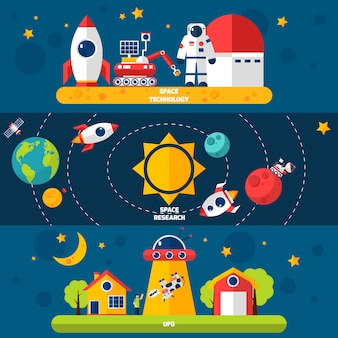 Conjunto de banners planos de space exploration 3