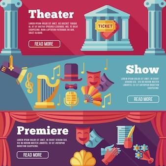 Conjunto de banners planos de teatro