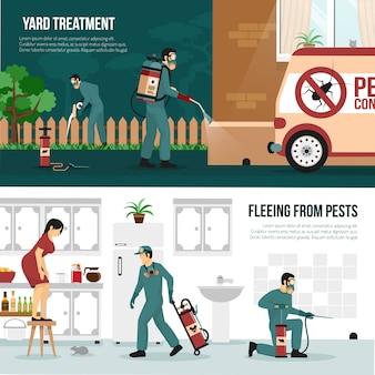Conjunto de banners planos de tecnología de control de plagas