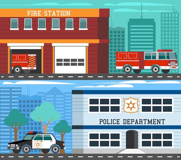 Conjunto de banners planos de vehículos de departamentos de emergencia
