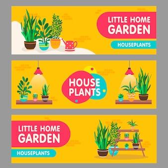 Conjunto de banners de plantas caseras. plantas de interior con macetas en estantes ilustraciones vectoriales con texto. interior del hogar y concepto de jardín para el diseño de folletos y folletos de florería