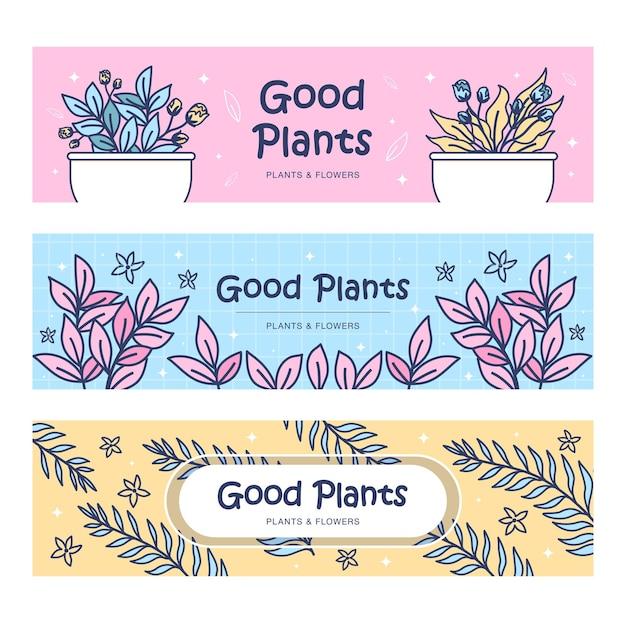 Conjunto de banners de plantas