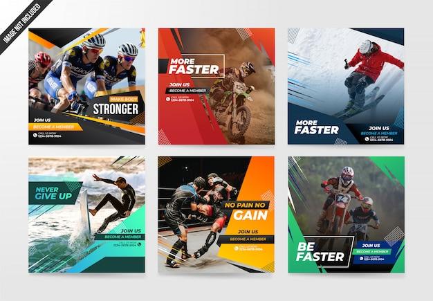 Conjunto de banners de la plantilla de deportes redes sociales post
