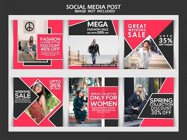 Conjunto de banners de plantillas exclusivas de redes sociales de moda