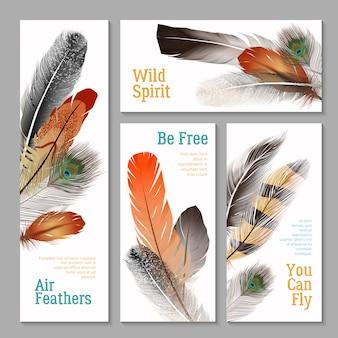 Conjunto de banners de plumas