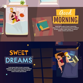 Conjunto de banners de poses para dormir
