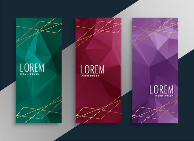 Conjunto de banners premium de estilo abstracto low poly
