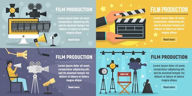 Conjunto de banners de producción de cine.