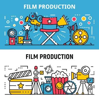 Conjunto de banners de producción de película, estilo de contorno
