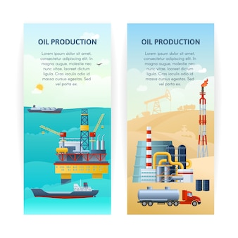 Conjunto de banners de producción de petróleo