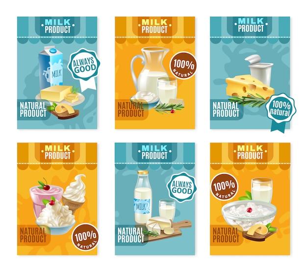 Conjunto de banners de productos lácteos