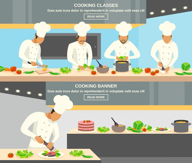 Conjunto de banners de profesión de cocinero