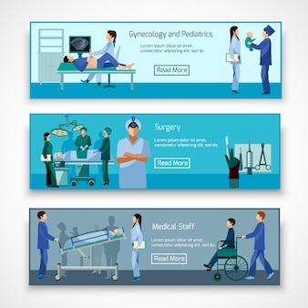 Conjunto de banners de profesionales médicos en el trabajo