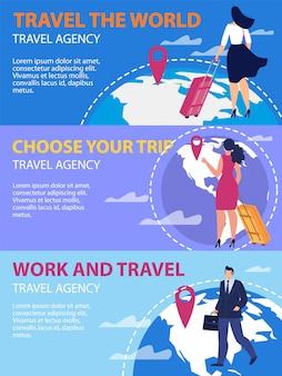Conjunto de banners de promoción de vector plano de agencia de viajes