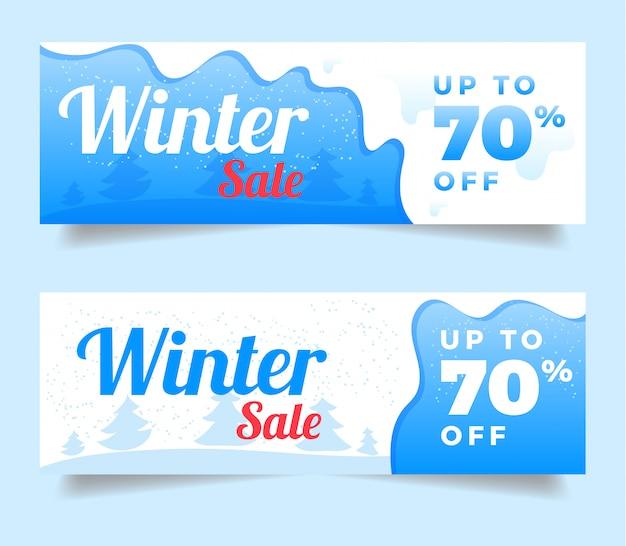 Conjunto de banners de promoción de venta de invierno