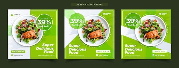 Conjunto de banners promocionales de comida súper deliciosa.