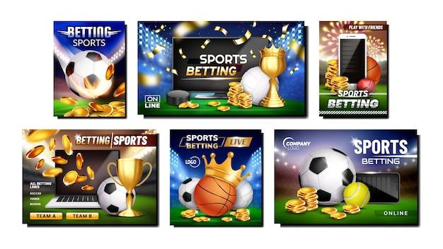 Conjunto de banners promocionales deportivos de apuestas.