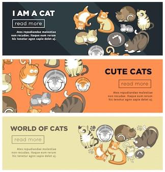 Conjunto de banners promocionales de internet del mundo de los lindos gatos.
