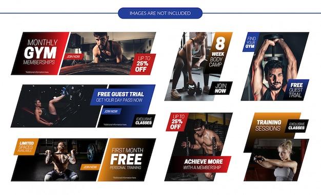 Conjunto de banners promocionales del sitio web de gimnasio