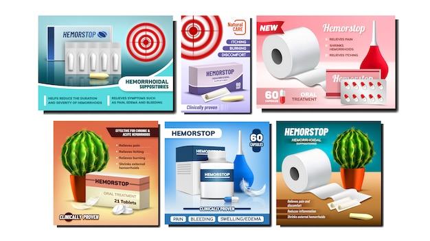 Conjunto de banners promocionales de supositorios de hemorroides