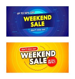Conjunto de banners promocionales con tipografía de venta de fin de semana.