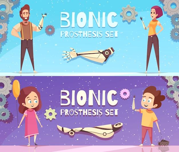 Conjunto de banners de prótesis biónica