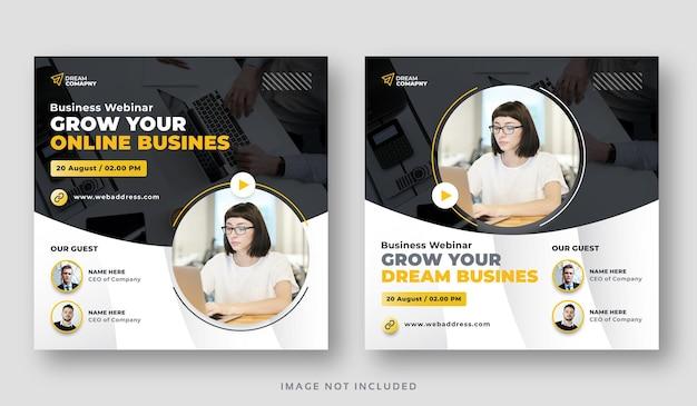 Conjunto de banners de publicación de redes sociales de conferencia de seminarios web de negocios