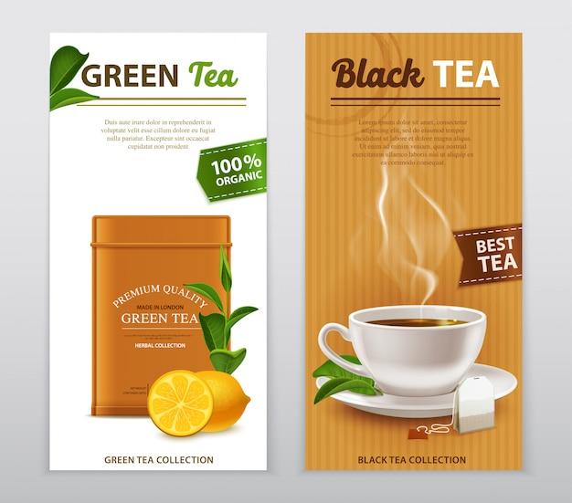 Conjunto de banners de publicidad realista de té