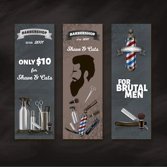 Conjunto de banners publicitarios de barbería.