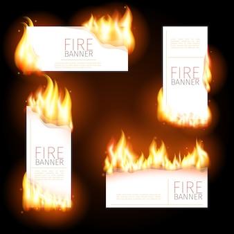 Conjunto de banners publicitarios con chorros de llama.