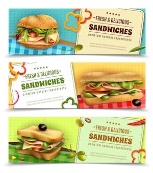 Conjunto de banners publicitarios sándwiches frescos saludables