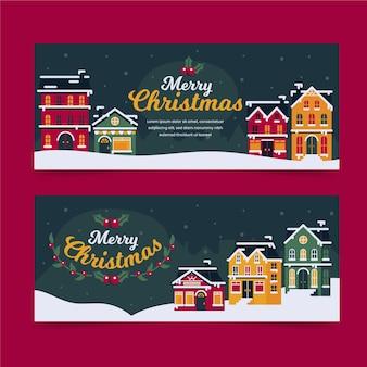 Conjunto de banners de pueblo de navidad de diseño plano